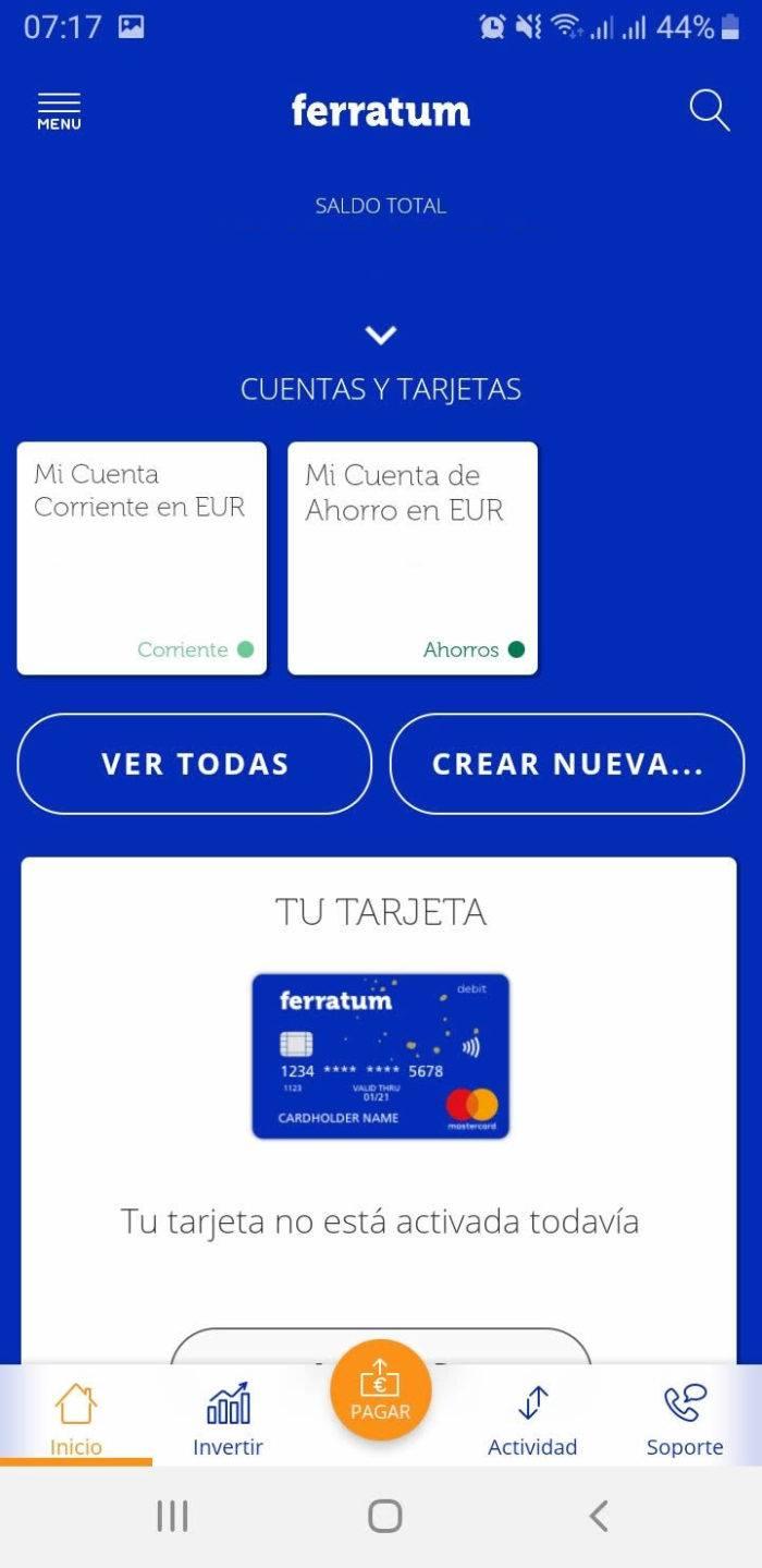 Captura de pantalla Inicio de la app de Ferratum Bank