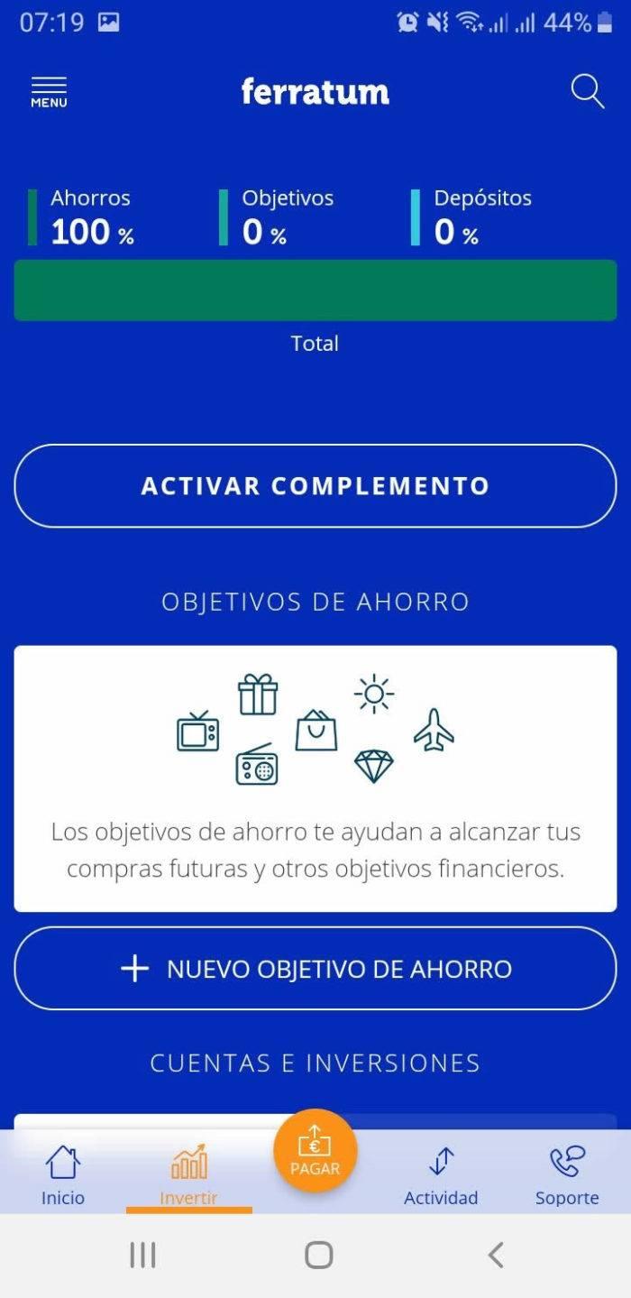 Captura de pantalla Complementos y objetivos de ahorro App Ferratum Bank