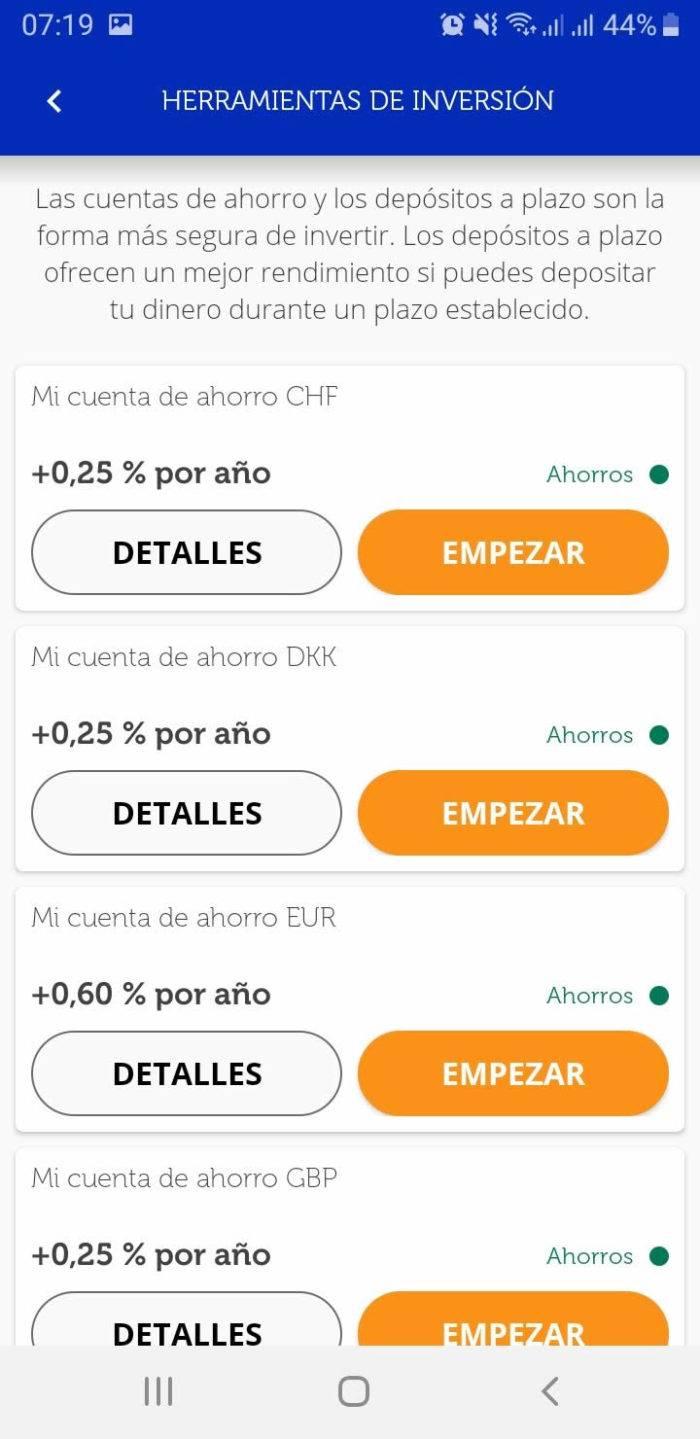 Captura de pantalla Cuentas de ahorro multidivisa App Ferratum Bank