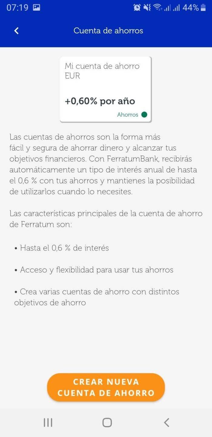 Captura de pantalla Alta nueva cuenta ahorro App Ferratum Bank