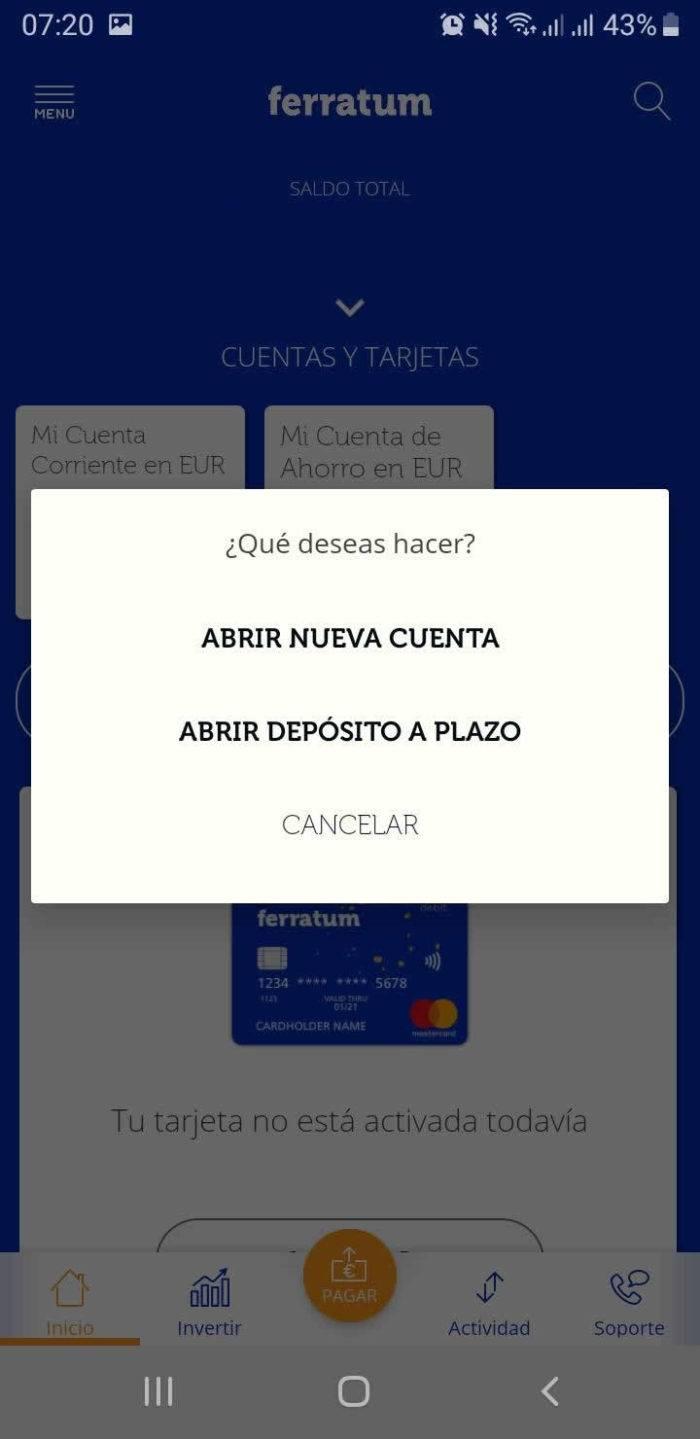 Captura de pantalla Apertura nuevo deposito o cuenta App Ferratum Bank