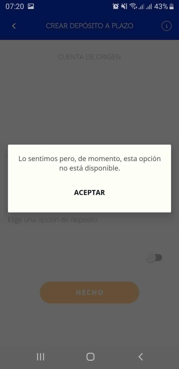 Captura de pantalla Ferratum sin depositos App Ferratum Bank