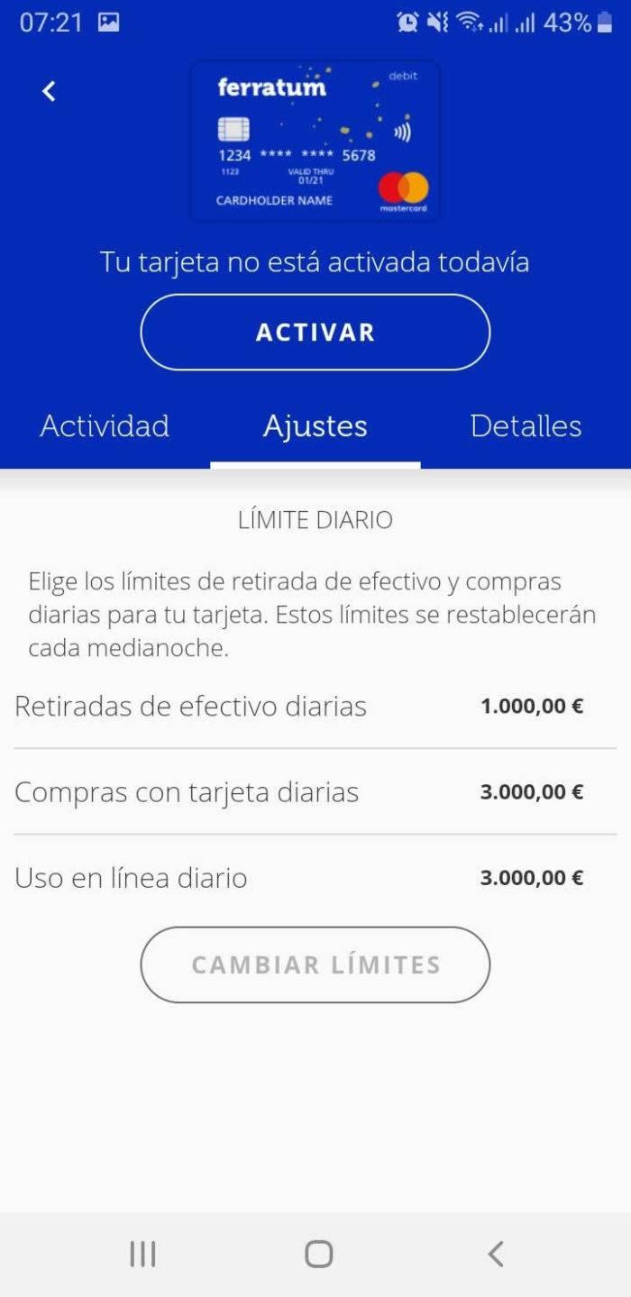 Captura de pantalla Tarjeta débito y limites App Ferratum Bank