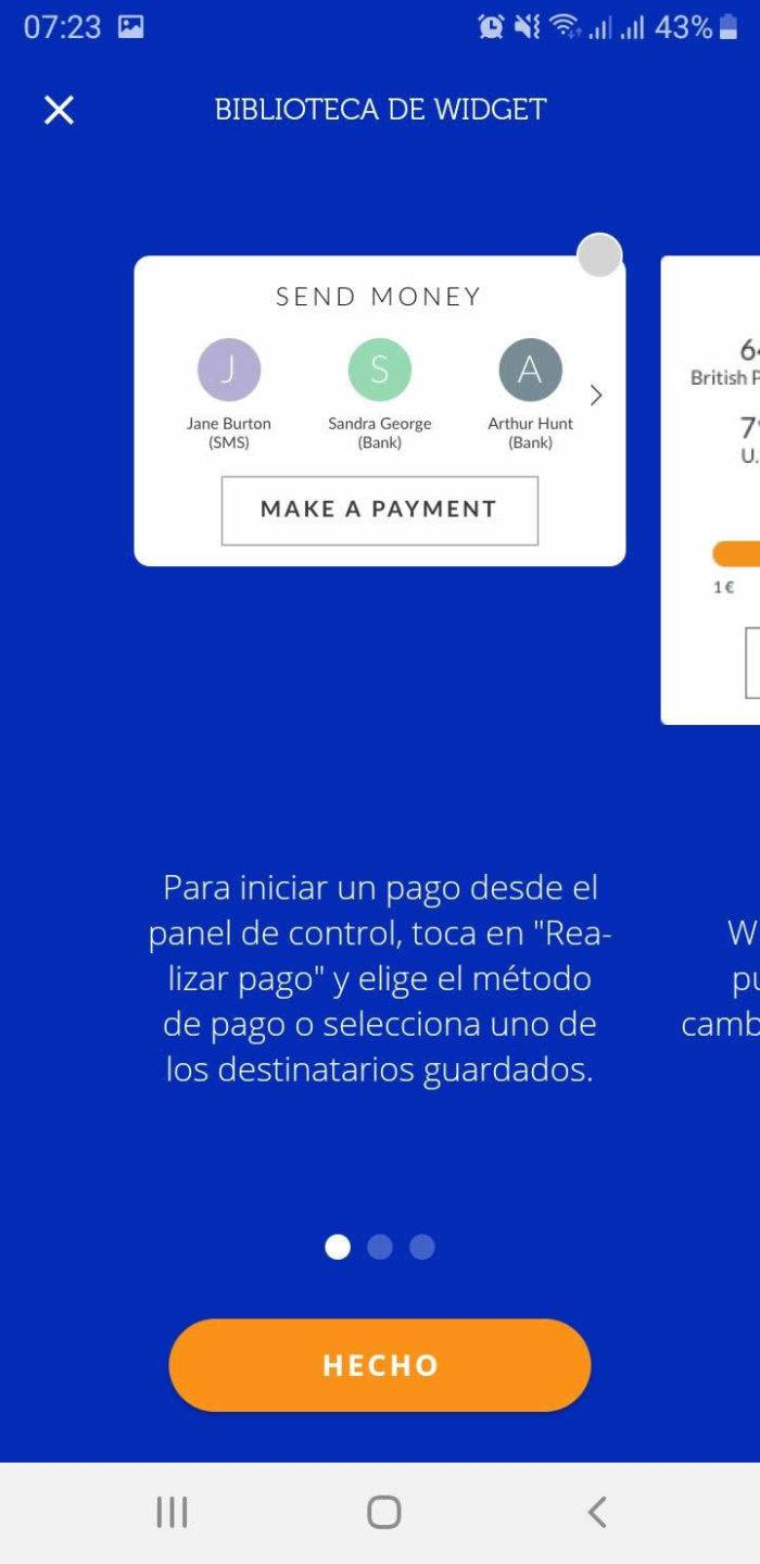 Captura de pantalla Widget transferencias pagos App Ferratum Bank