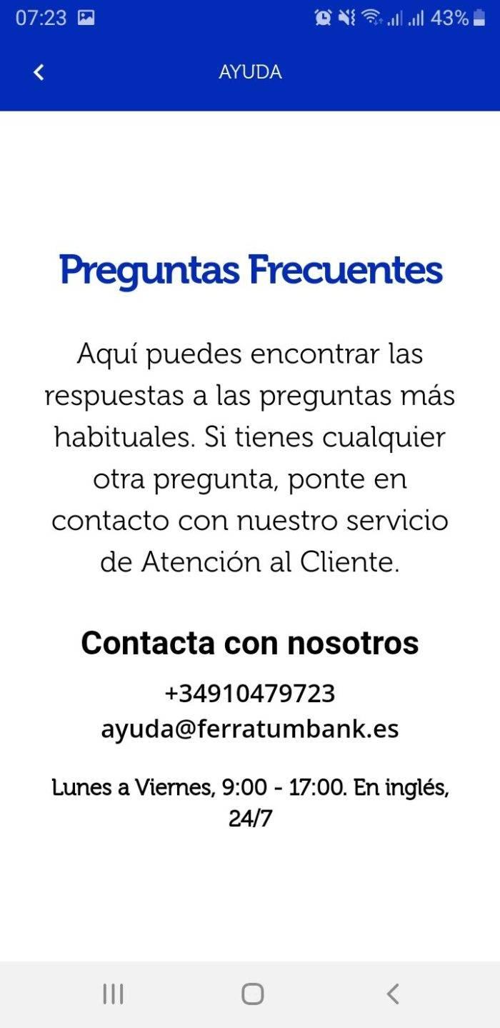 Captura de pantalla App Ferratum Bank