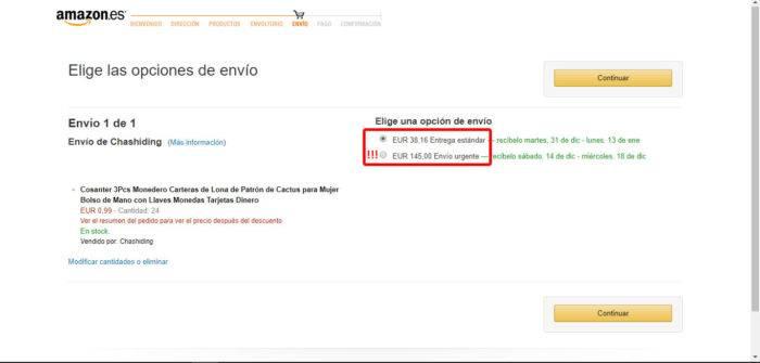 Captura de pantalla de los gastos de envío urgente en Amazon para regalos para traer al cole de menos de 1 euro