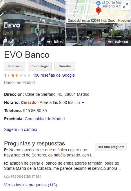 Imagen que muestra las valoraciones, opiniones y reseñas de EVO Banco en la ficha de Google