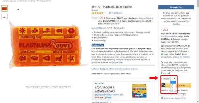 Captura de pantalla del máximo de unidades de plastilina que puedes comprar. Sólo 4 unidades.