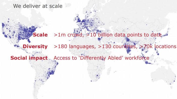 Mapa del mundo mostrando los más de 1M de trabajadores de Appen en el mundo